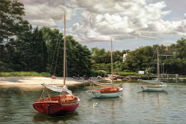 Cape Cod Painting - The Red Boat - Quissett Harbor Cape Cod by Julia O'Malley-Keyes