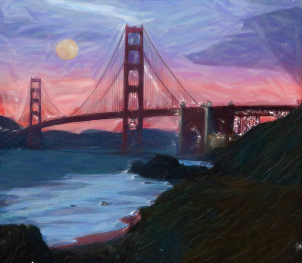 Painting - The Red Bridge by Adam Asar