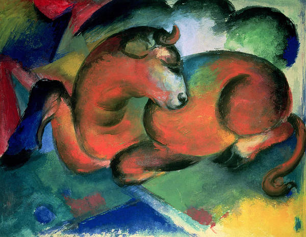 The Blue Rider Wall Art - Painting - The Red Bull by Franz Marc