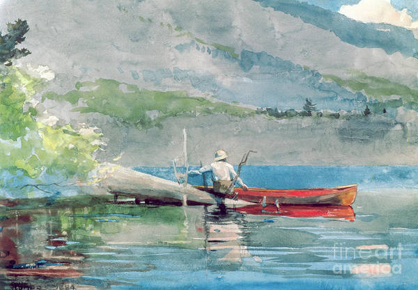 Angler Wall Art - Painting - The Red Canoe by Winslow Homer
