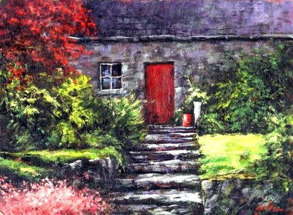 Wall Art - Painting - The Red Door by Jim Gola