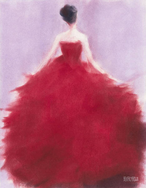 Wall Art - Pastel - The Red Evening Dress by Beverly Brown
