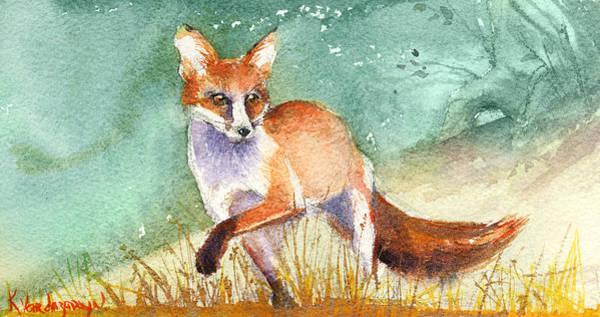 Wall Art - Painting - The Red Fox by Kristina Vardazaryan