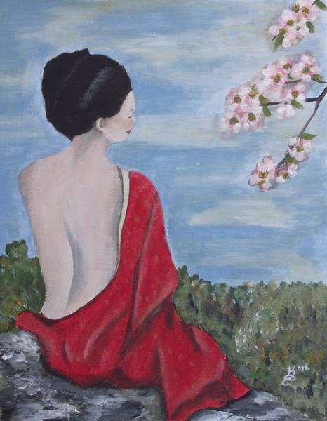 Wall Art - Painting - The Red Kimono by Kim Selig