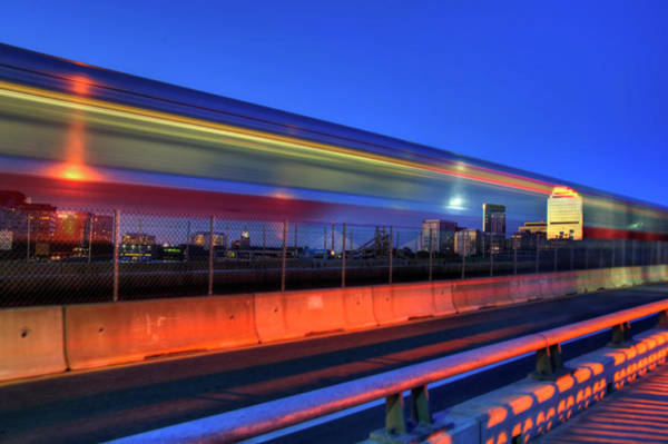 Photograph - The Red Line Over The Longfellow Bridge by Joann Vitali