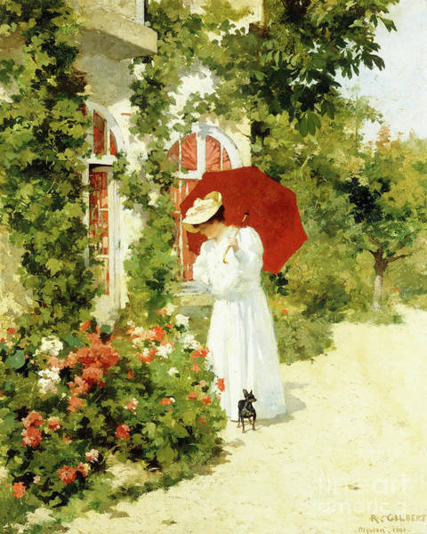 Wall Art - Painting - The Red Parasol by Rene Joseph Gilbert