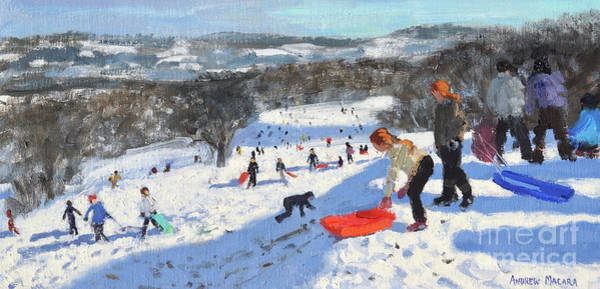 Wall Art - Painting - The Red Sledge, Allestree Park, Derby by Andrew Macara
