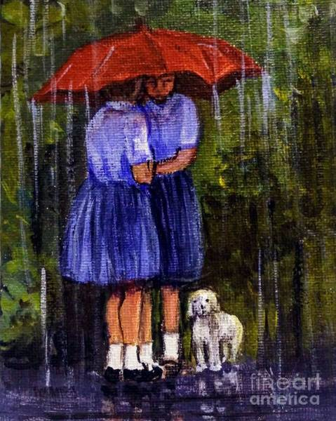 Painting - The Red Umbrella And Three Friends by Asha Sudhaker Shenoy