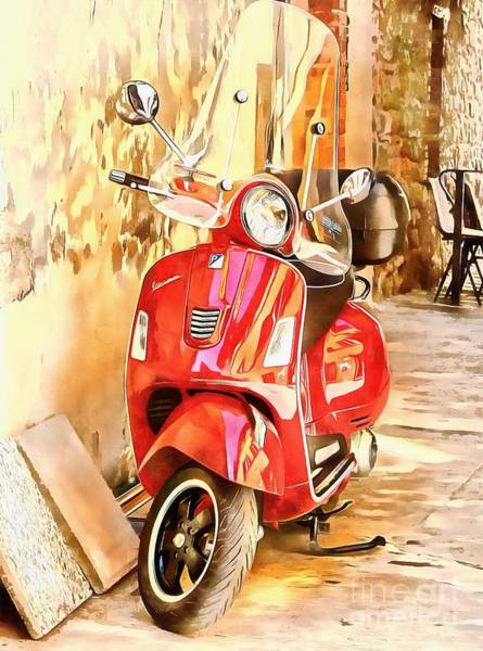Photograph - The Red Vespa by Dorothy Berry-Lound