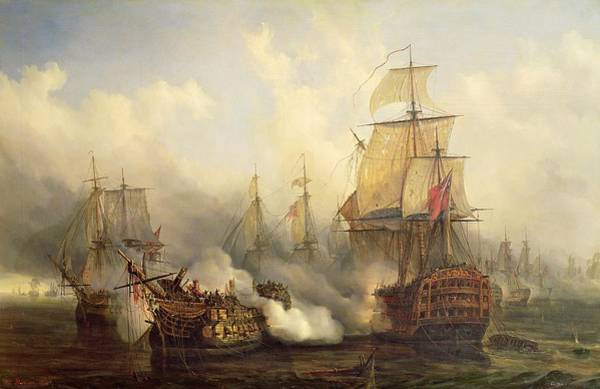 Boats Wall Art - Painting - Unknown Title Sea Battle by Auguste Etienne Francois Mayer