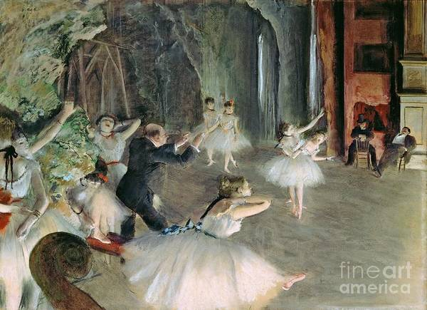 Wall Art - Painting - The Rehearsal Of The Ballet On Stage by Edgar Degas
