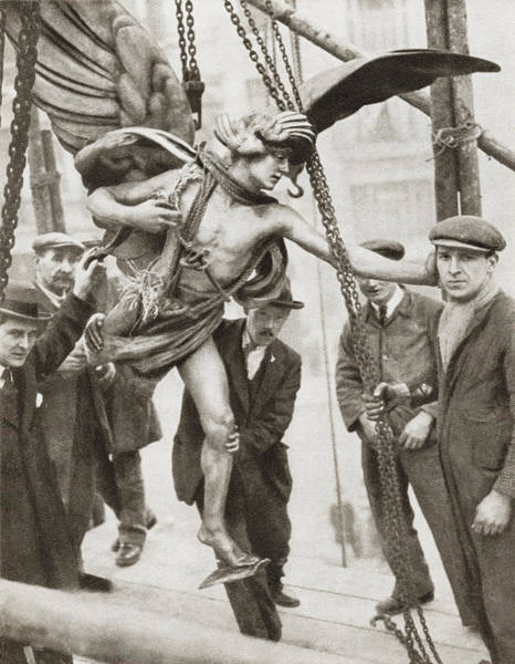 Reconstruction Drawing - The Removal Of The Statue Of Eros From by Vintage Design Pics