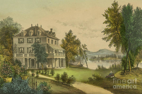 Frankenstein Painting - The Residence Of Lord Byron by Currier and Ives