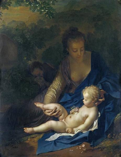 Immaculate Conception Wall Art - Painting - The Rest On The Flight Into Egypt by Adriaan van der Werff