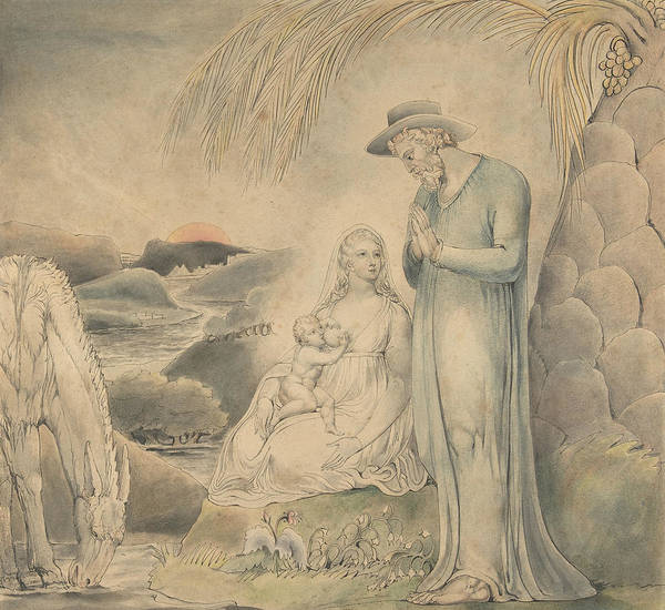Drawing - The Rest On The Flight Into Egypt by William Blake