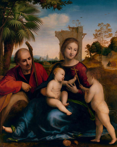 Renaissance Painters Wall Art - Painting - The Rest On The Flight Into Egypt With St. John The Baptist by Fra Bartolomeo