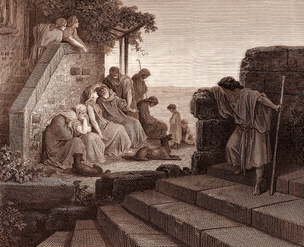 Tender Moment Wall Art - Drawing - The Return Of The Prodigal Son by Gustave Dore