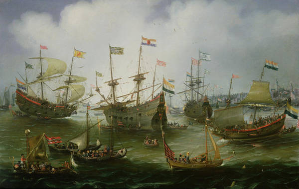 Amsterdam Painting - The Return To Amsterdam Of The Second Expedition To The East Indies by Andries van Eertvelt