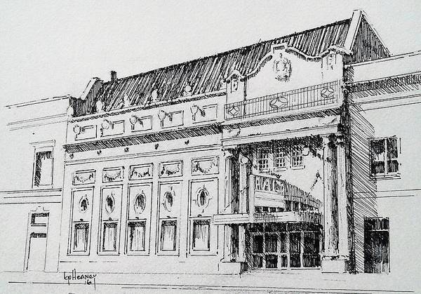 Drawing - The Rialto Theater Deer Lodge Montana by Kevin Heaney
