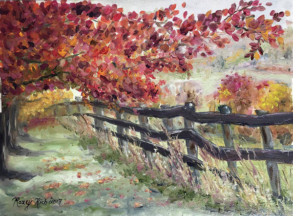 Landscape Painting - The Rickety Fence by Roxy Rich