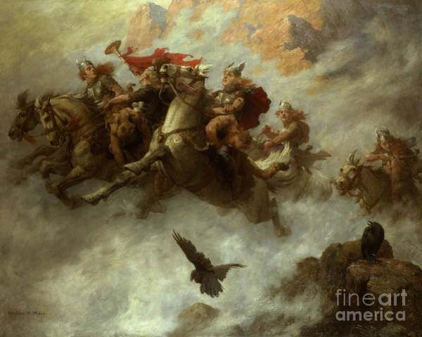 Horseback Wall Art - Painting - The Ride Of The Valkyries  by William T Maud