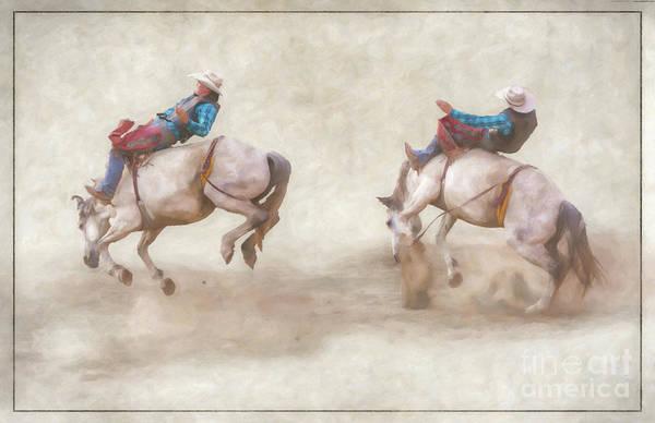 Bucking Bronco Digital Art - The Ride Rodeo Bronco Riding by Randy Steele