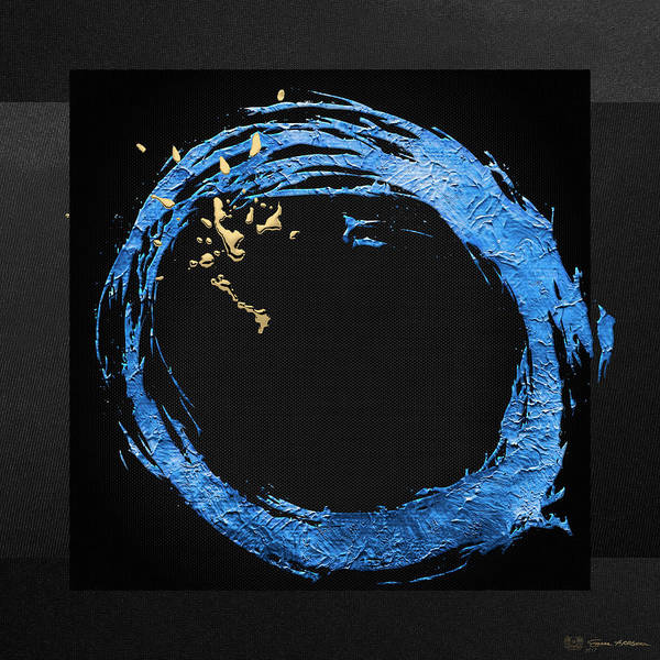 Digital Art - The Rings - Blue On Black With Splash Of Gold No. 2 by Serge Averbukh