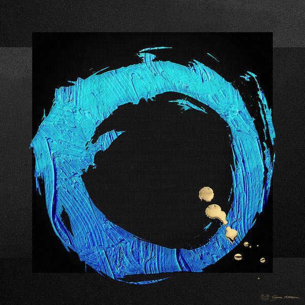 Digital Art - The Rings - Blue On Black With Splash Of Gold No. 4 by Serge Averbukh