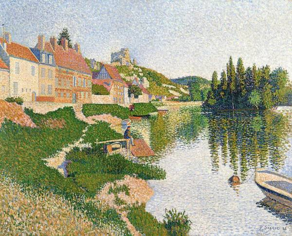 Berge Wall Art - Painting - The River Bank by Paul Signac