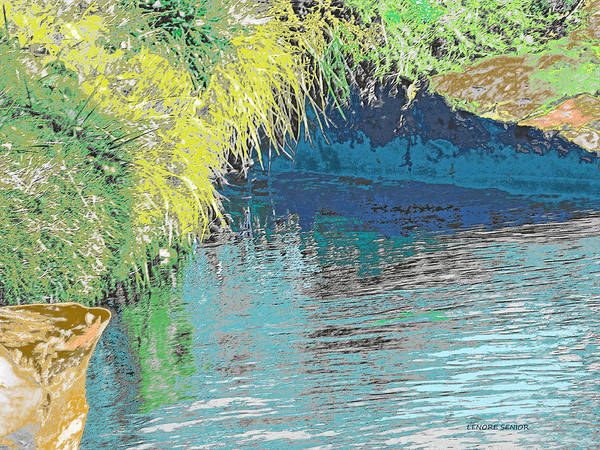 River Scene Mixed Media - The River Cave by Lenore Senior