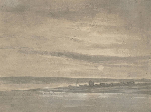 Drawing - The River Elbe In Moonlight by Johan Christian Dahl