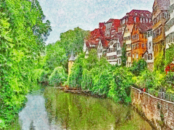 Digital Art - The River Neckar Flowing Through Tubingen Germany by Digital Photographic Arts