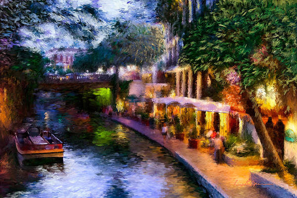 Spencer Shops Painting - The River Walk by Lisa Spencer