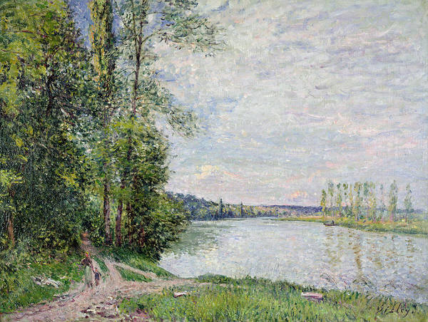 Riverside Wall Art - Painting - The Riverside Road From Veneux To Thomery by Alfred Sisley