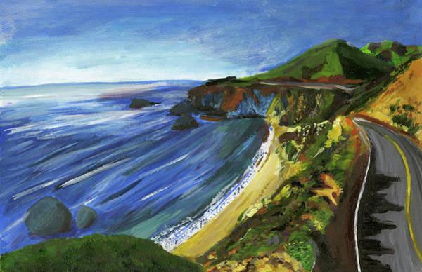 Coastal Highway Wall Art - Painting - The Road Along The California Coast By Cindy Zhou Grade 8 by California Coastal Commission