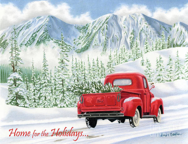 Wall Art - Painting - The Road Home- Home For The Holidays Cards by Sarah Batalka