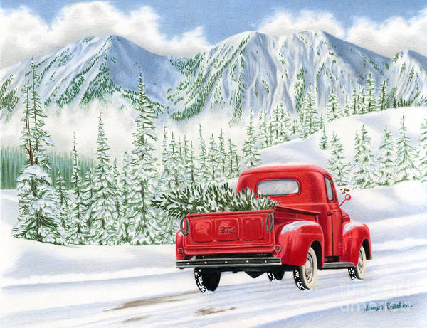 Snow Scene Painting - The Road Home by Sarah Batalka