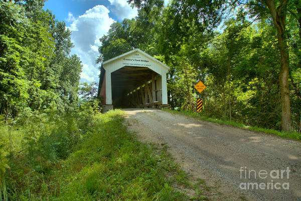 Ford Van Photograph - The Road To Conley's Ford Covered Bridge by Adam Jewell