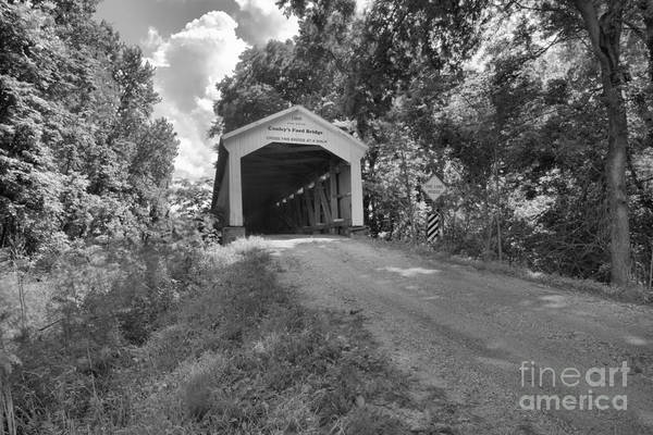 Ford Van Photograph - The Road To Conley's Ford Covered Bridge Black And White by Adam Jewell