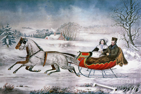 Painting - The Road-winter, 1853 by Granger