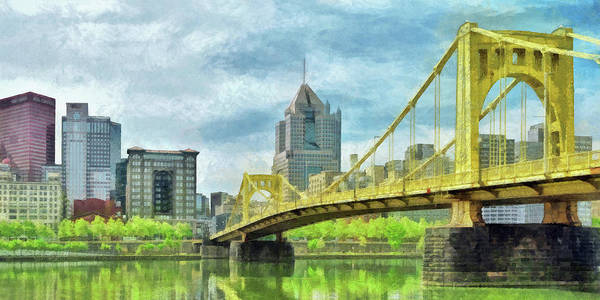 Digital Art - The Roberto Clemente Bridge In Pittsburgh by Digital Photographic Arts
