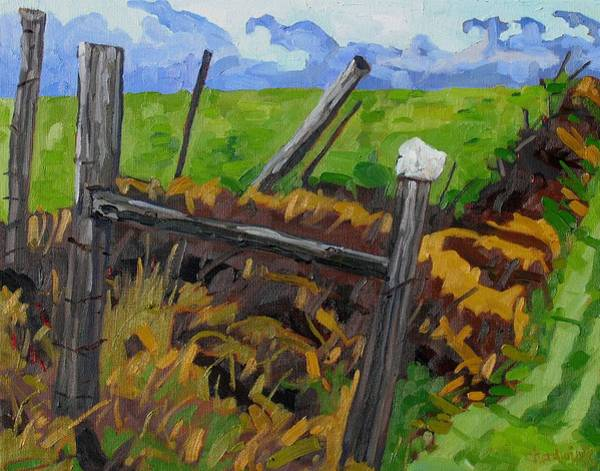 Watershed Painting - The Rock Fence by Phil Chadwick