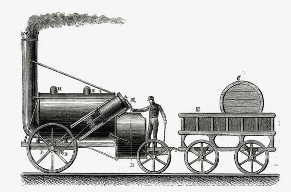 Rockets Drawing - The Rocket. Steam Engine Partially by Vintage Design Pics