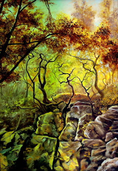Umber Painting - The Rocks In Starachowice by Henryk Gorecki