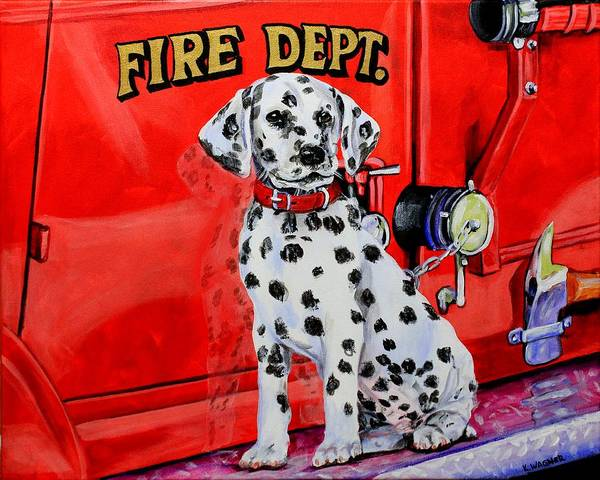 Vintage Fire Truck Painting - The Rookie by Karl Wagner