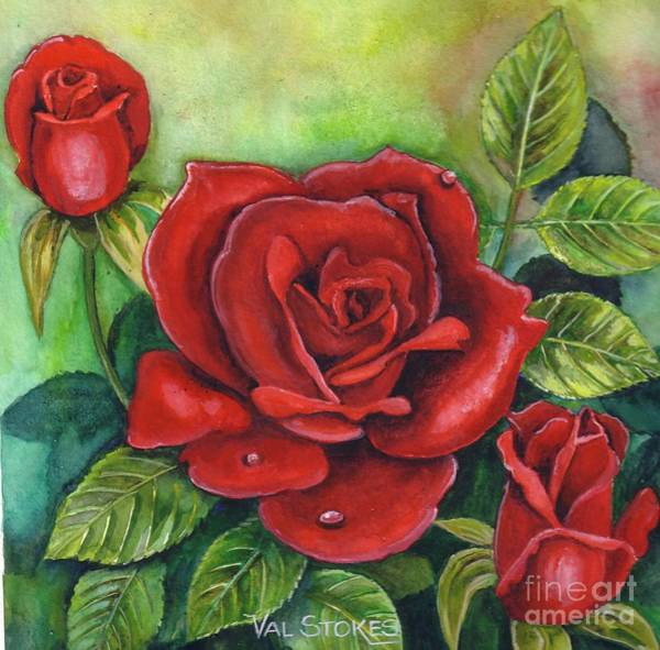 Painting - The Rose Of Love by Val Stokes