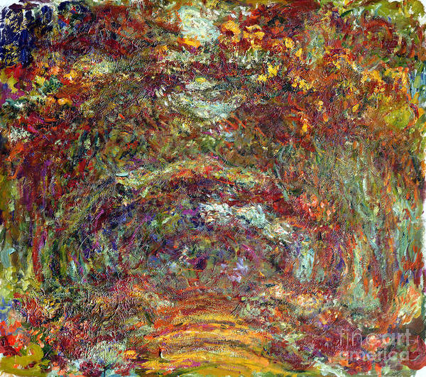 Giverny Painting - The Rose Path Giverny by Claude Monet