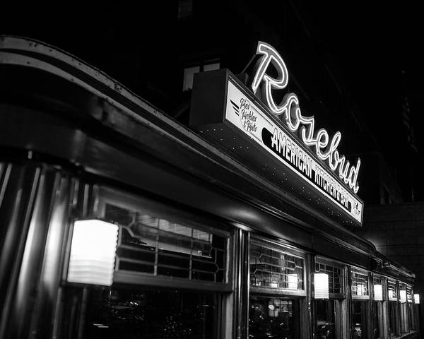 Photograph - The Rosebud Diner Davis Square Somerville Ma Black And White by Toby McGuire