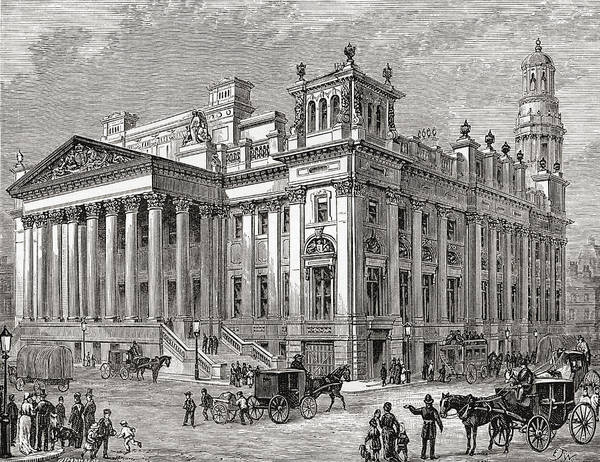 Manchester Drawing - The Royal Exchange, Manchester, England by Vintage Design Pics