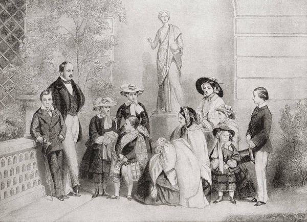 Wall Art - Drawing - The Royal Family At Osborne House, Isle by Vintage Design Pics